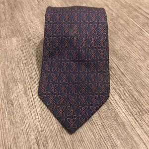 Hermès linked navy and pink tie 7326 EA 100% silk